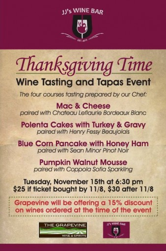 JJ's Wine Bar - Thanksgiving Tasting