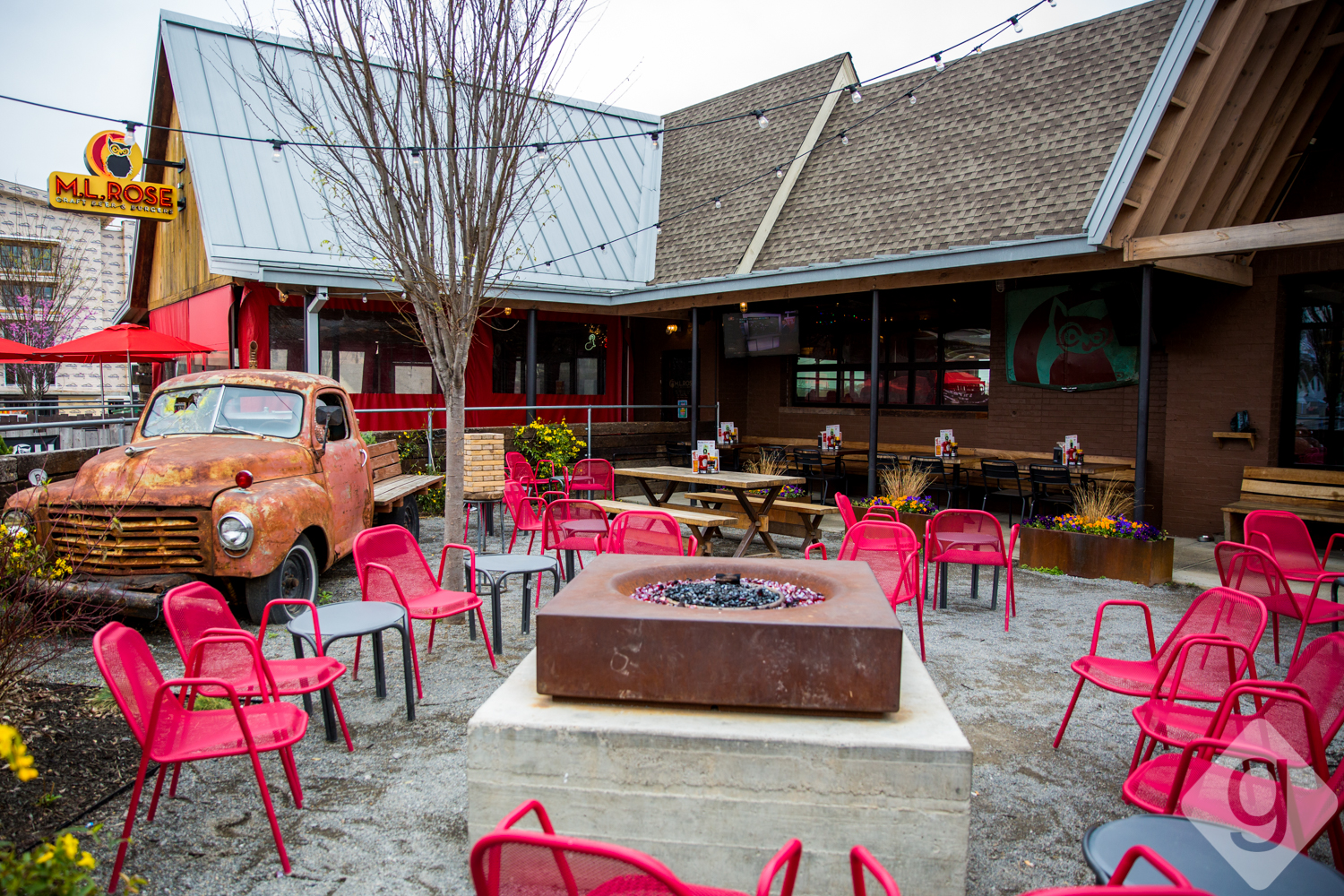 Captivating Both Locations Have Large Patios With Giant Jenga For Entertainment And  Fire Pits For Ambience And Warmth. The Melrose Location Is Mostly Covered,  ...