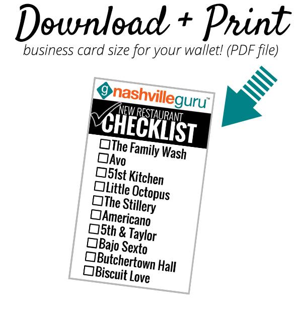 New Restaurant Checklist Download Biz Card August 2015