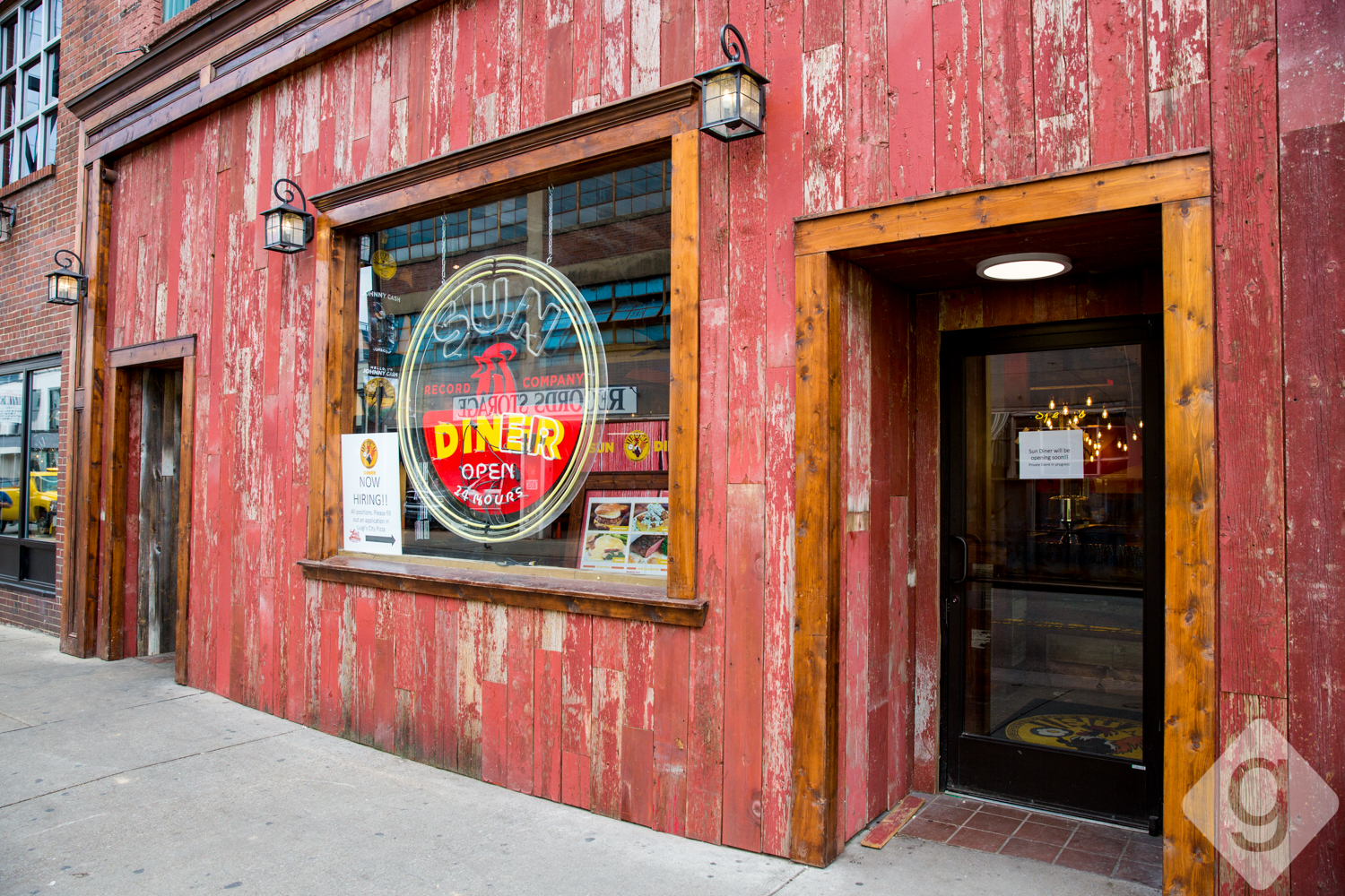 Sun Diner Cafe Is Situated Between The Johnny Cash Museum And Luigis Pizza It Has A Rustic Red Exterior Large Light In Window