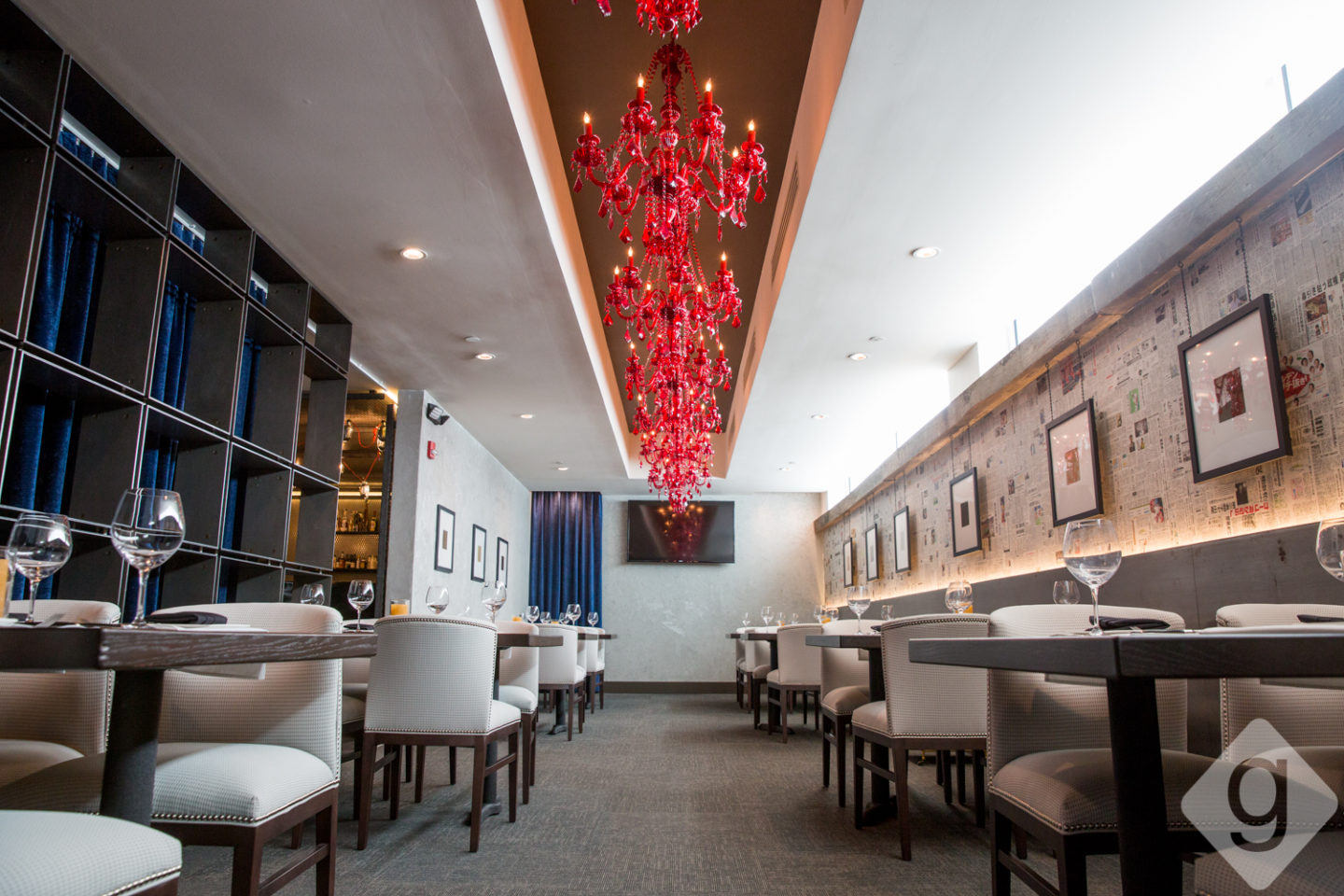 A look inside kayne primes expansion nashville guru the chandelier room is a medium sized room for up to 32 seated guests highlights include dazzling red chandeliers natural light and creative wall art arubaitofo Image collections