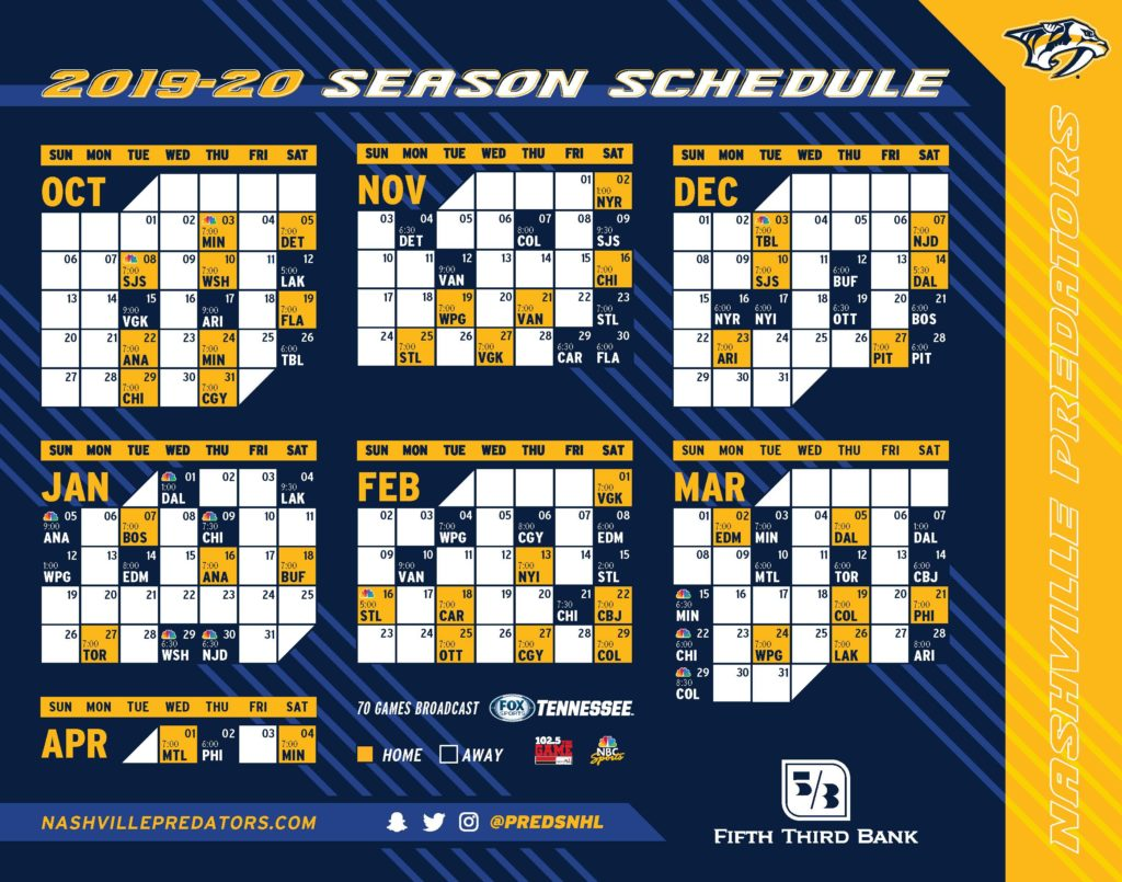 photograph relating to Sabres Schedule Printable referred to as Predators Dwelling Activity Plan Nashville Expert