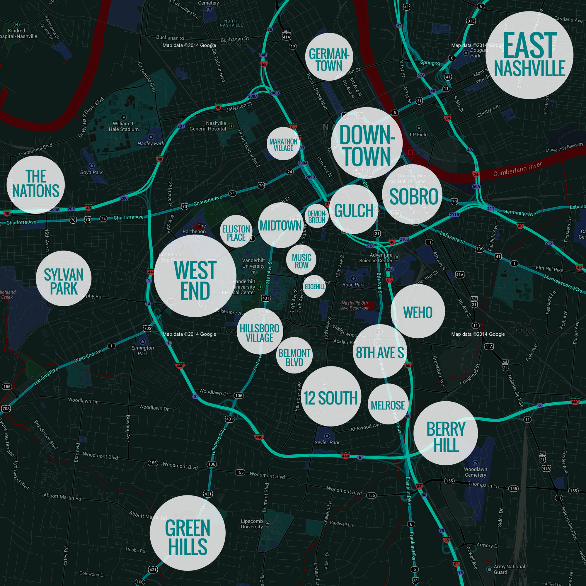 Nashville Neighborhoods Map