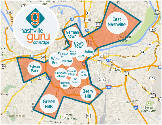 Nashville Neighborhood Map Nashville Guru Coverage Map with Areas | Nashville Guru